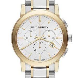 New Burberry Two-tone Chrono Unisex Bu9751 Watch